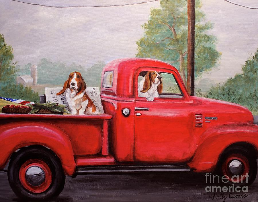 Dog Painting - Off To Market by Holly Connors