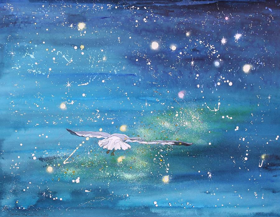 Seagull Painting - Off To Neverland by Linda Gunn