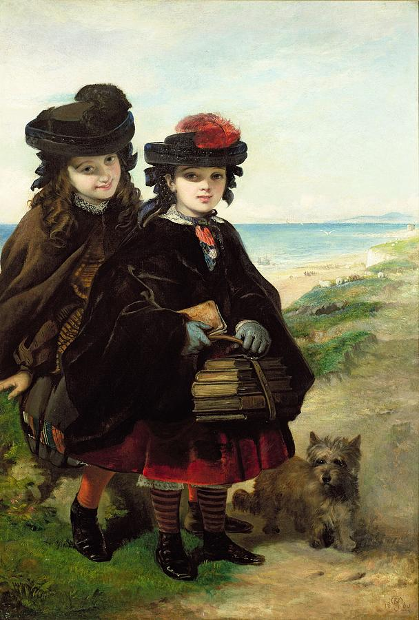 School Books Painting - Off To School, 1860 by Thomas Musgrave Joy