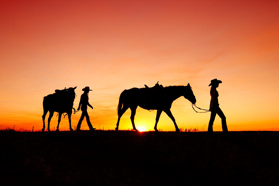Cowgirls Photograph - Off to the Barn by Todd Klassy