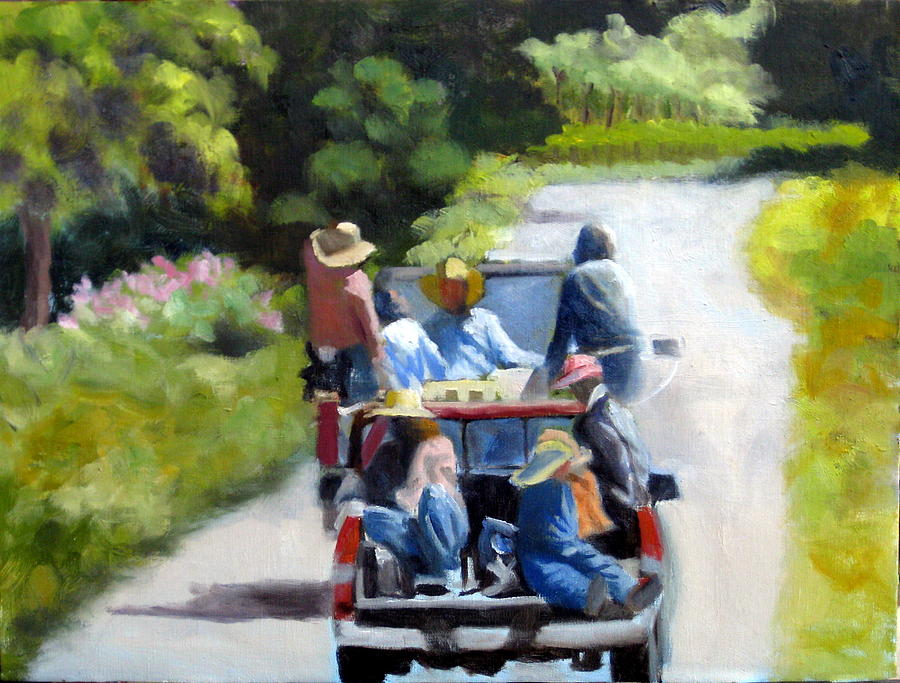 Workers Painting - Off To The Vineyards by Char Wood