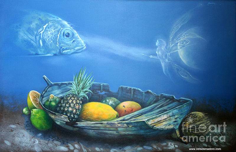 Offering Under The Sea Painting by Nelson Madero