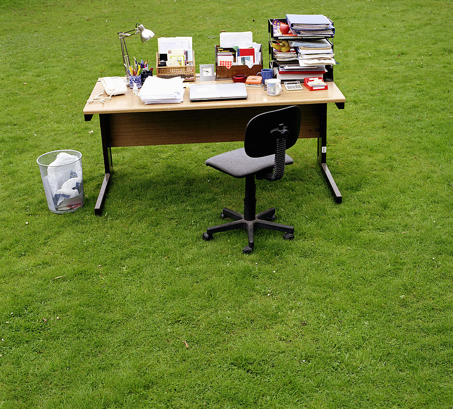 Marvelous Office Desk Chair And Bin On Grass By Alex And Laila Theyellowbook Wood Chair Design Ideas Theyellowbookinfo