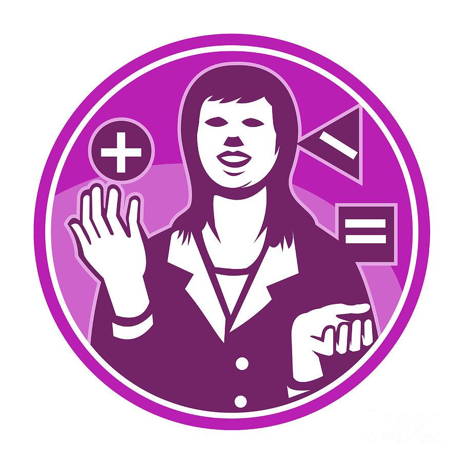 Businesswoman Digital Art - Office Worker Businesswoman Juggling Woodcut by Aloysius Patrimonio