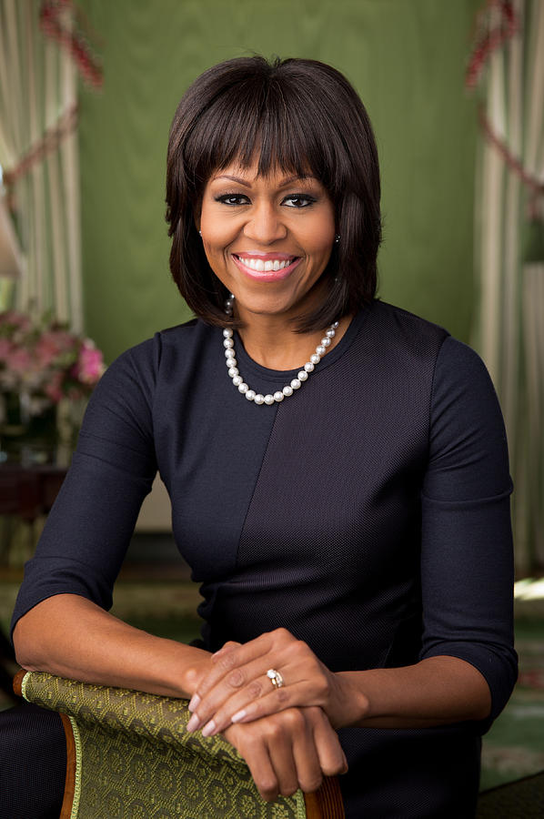 Official Photograph - Official Portrait Of First Lady Michelle Obama by Celestial Images