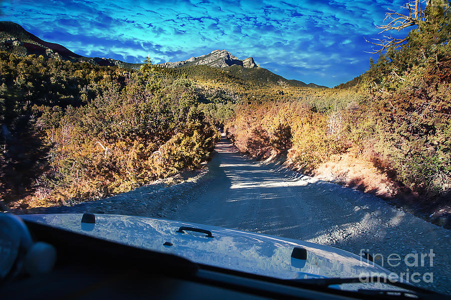 Mountain Photograph - Offroad driving view from inside the car by Gunter Nezhoda