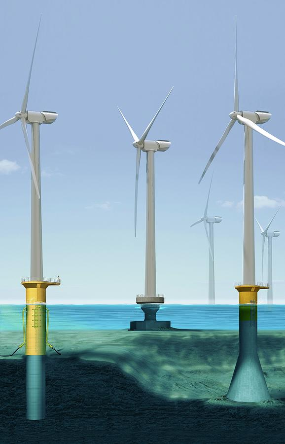 Alternative Energy Source Photograph - Offshore Wind Farm by Claus Lunau/science Photo Library
