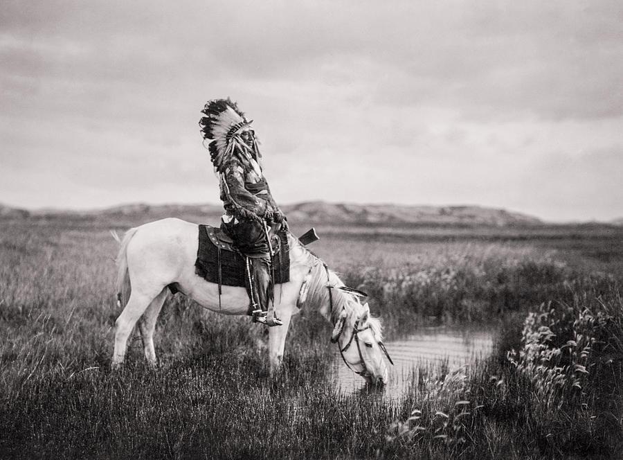 1905 Photograph - Oglala Indian Man circa 1905 by Aged Pixel