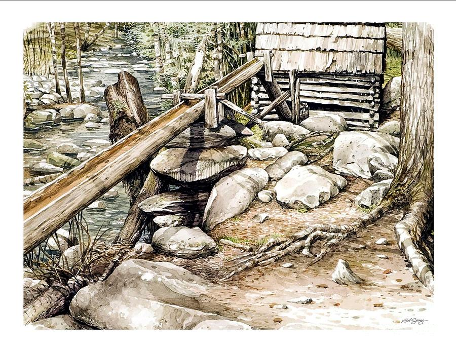 Watercolor Painting - Ogle Grist Mill by Bob  George