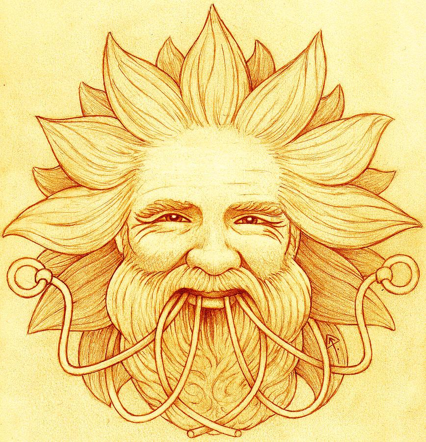 Ogham Drawing - Ogma Sun-Faced by Yuri Leitch