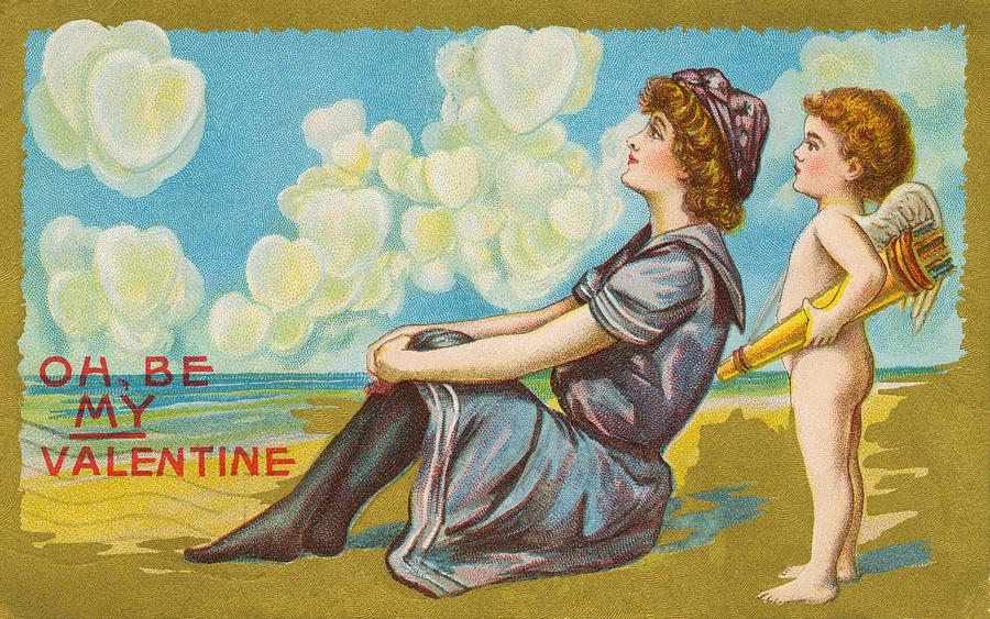 Romantic Painting - Oh Be My Valentine Postcard by American School