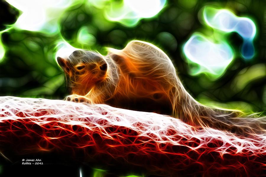 Fractal; Digital Art; Fractal Art; Neon Art; Art Deco; Squirrel; Fox Squirre; Robbie The Squirrel; Sciurus Niger; Cute Squirrel; Animal; Mammal; Wildlife; Cute Animal; James Ahn; Rateitart Digital Art - Oh Buggers I Itch - Fractal - Robbie The Squirrel by James Ahn
