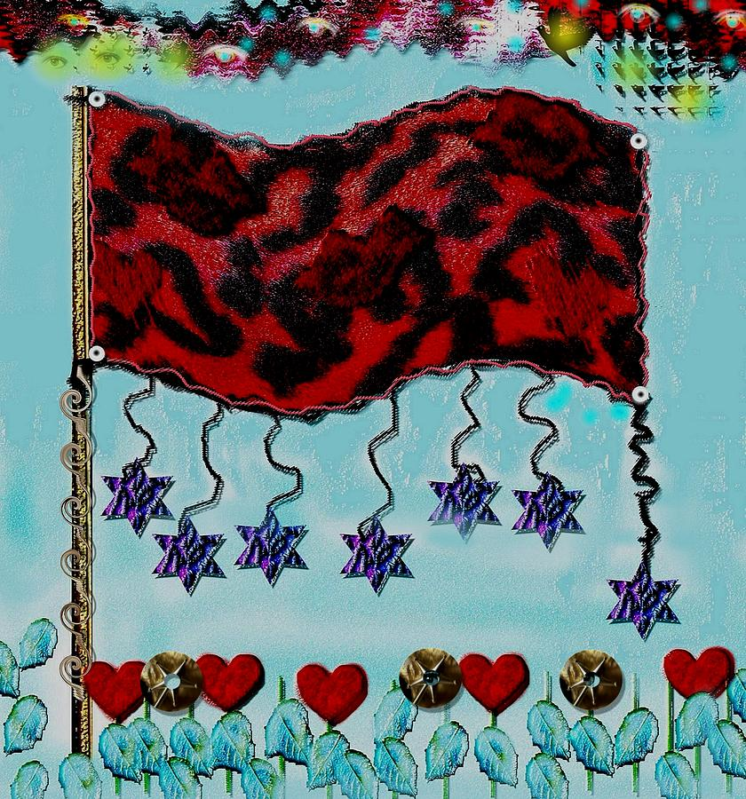 Flag Mixed Media - Oh Happy Days Flag by Pepita Selles