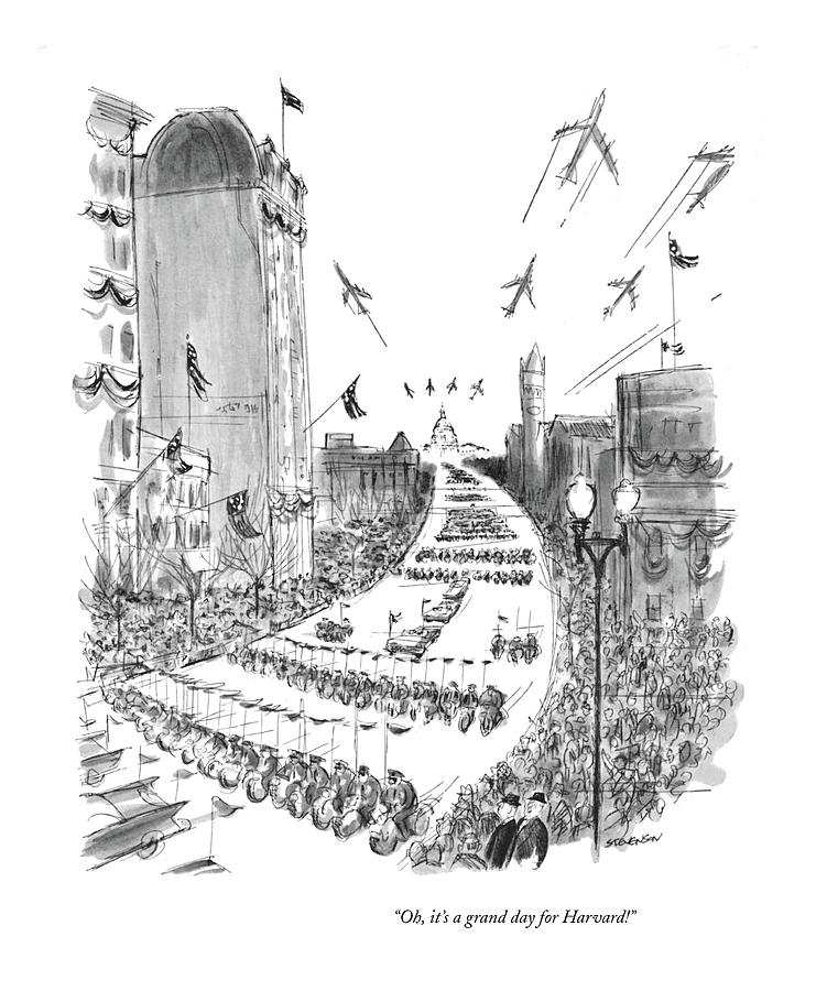 Its A Grand Day For Harvard Drawing by James Stevenson