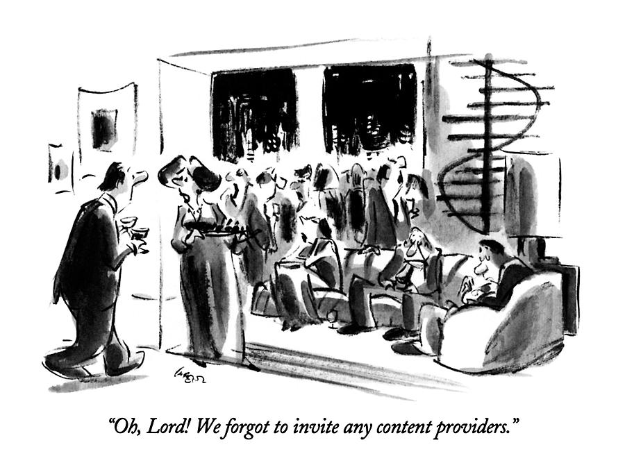 Oh, Lord!  We Forgot To Invite Any Content Drawing by Lee Lorenz