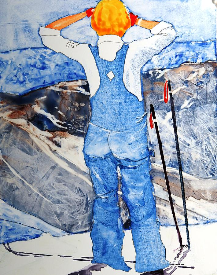 Skis Painting - Oh Say Can You Ski by Elizabeth Carr