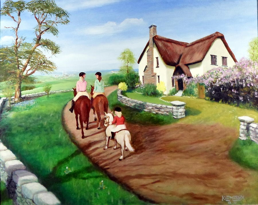 Horse Riders Painting - Oh To Be In England by Ken Maddex