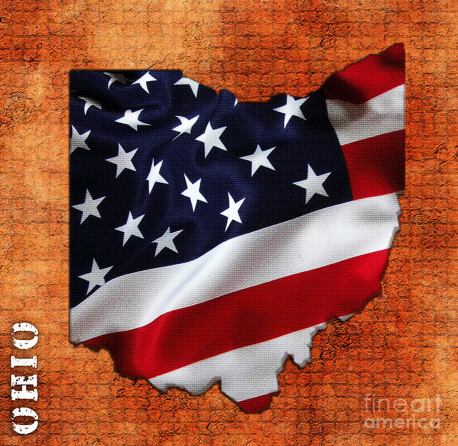 Usa Mixed Media Ohio American Flag State Map By Marvin Blaine