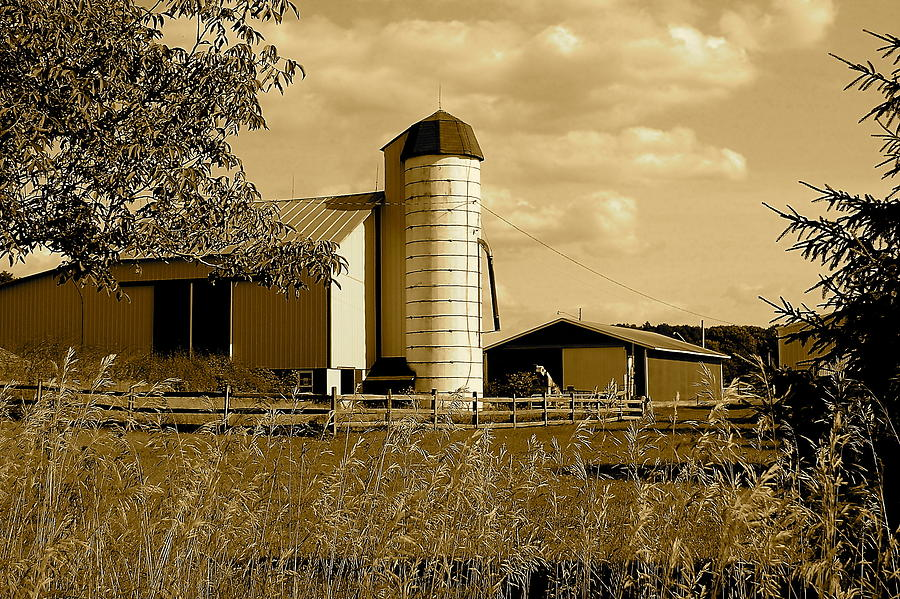 Farm Photograph - Ohio Farm In Sepia by Frozen in Time Fine Art Photography