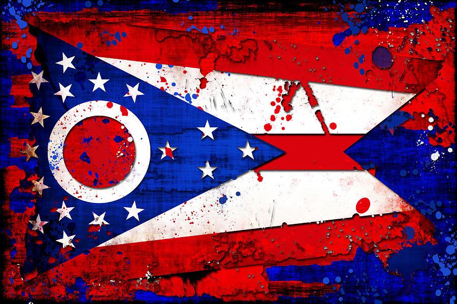 Ohio Grunge And Splatter Flag Digital Art