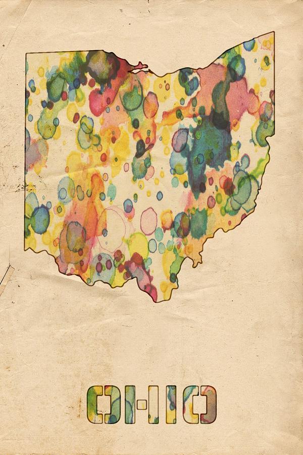 Ohio Map Vintage Watercolor Painting by Florian Rodarte
