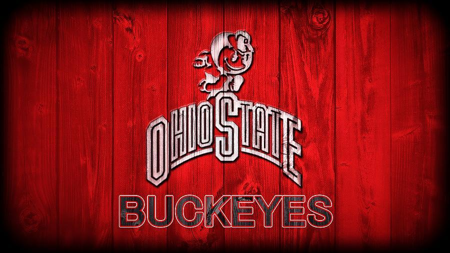 Ohio State University Digital Art - Ohio State Buckeyes Barn Door Vignette by Dan Sproul