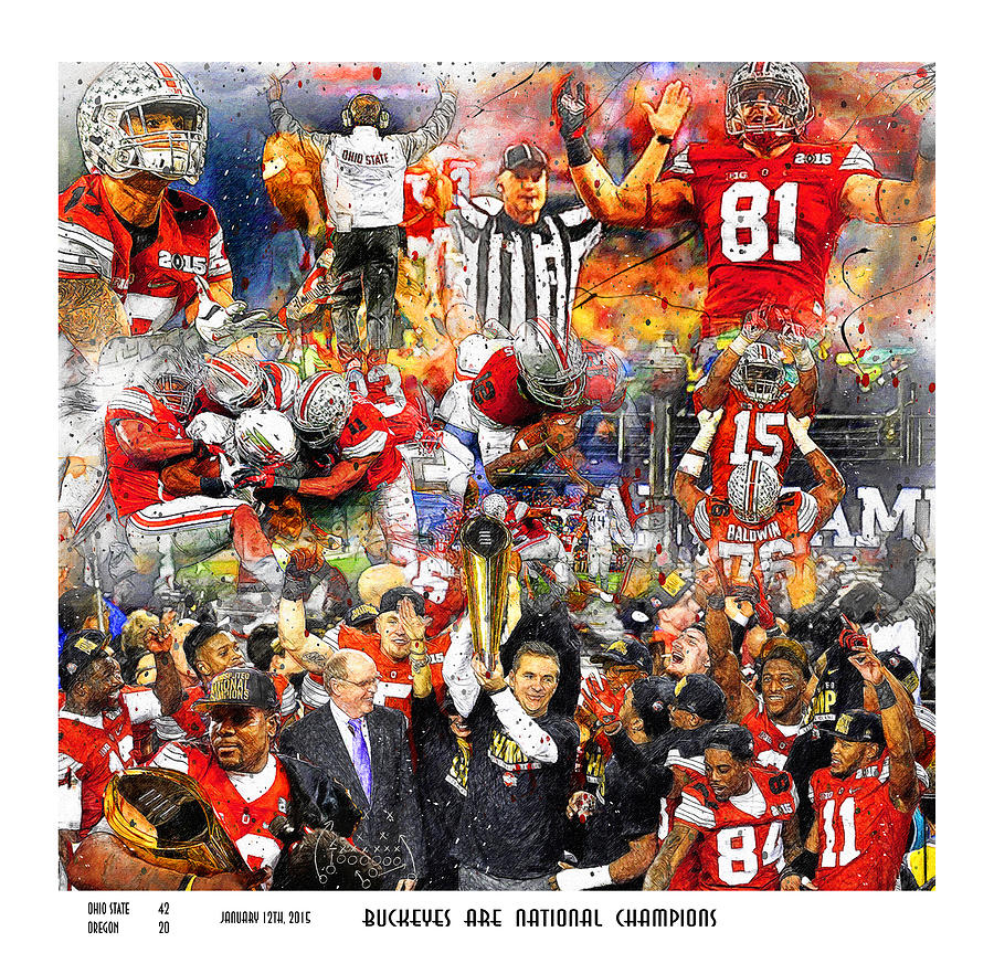 Ohio State Buckeyes Painting - Ohio State National Champions 2015 by John Farr