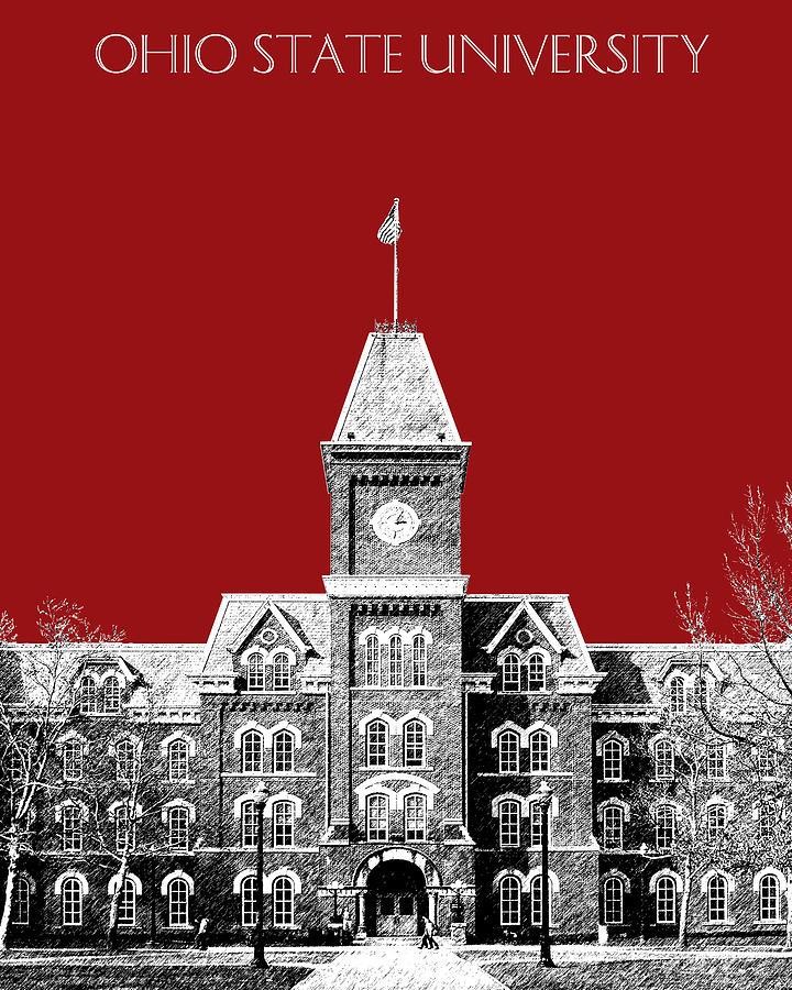 University Digital Art - Ohio State University - Dark Red by DB Artist