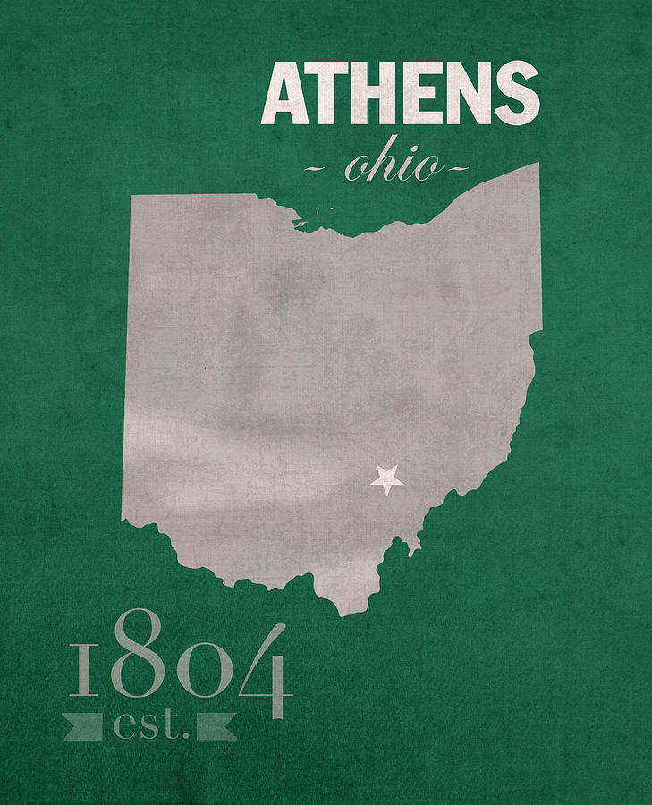 Ohio University Athens Bobcats College Town State Map Poster - Us college map poster