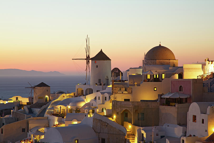 Oia Village Cityscape At Sunset Photograph by Nimu1956