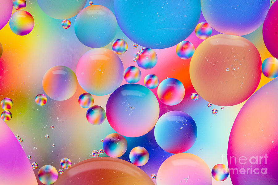 Colorful Bubbles Photograph - Oil And Water by Dawna  Moore Photography