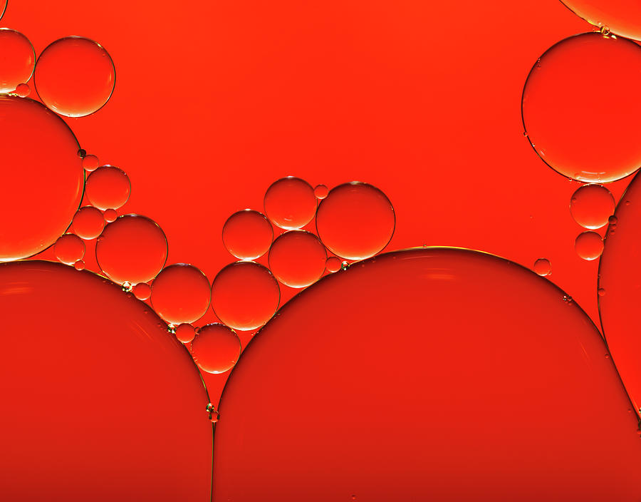 Oil And Water Drops Background Photograph by Assalve