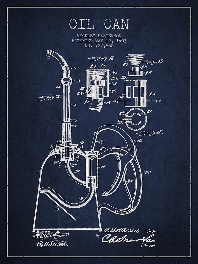 Oil Drawing - Oil Can Patent From 1903 - Navy Blue by Aged Pixel