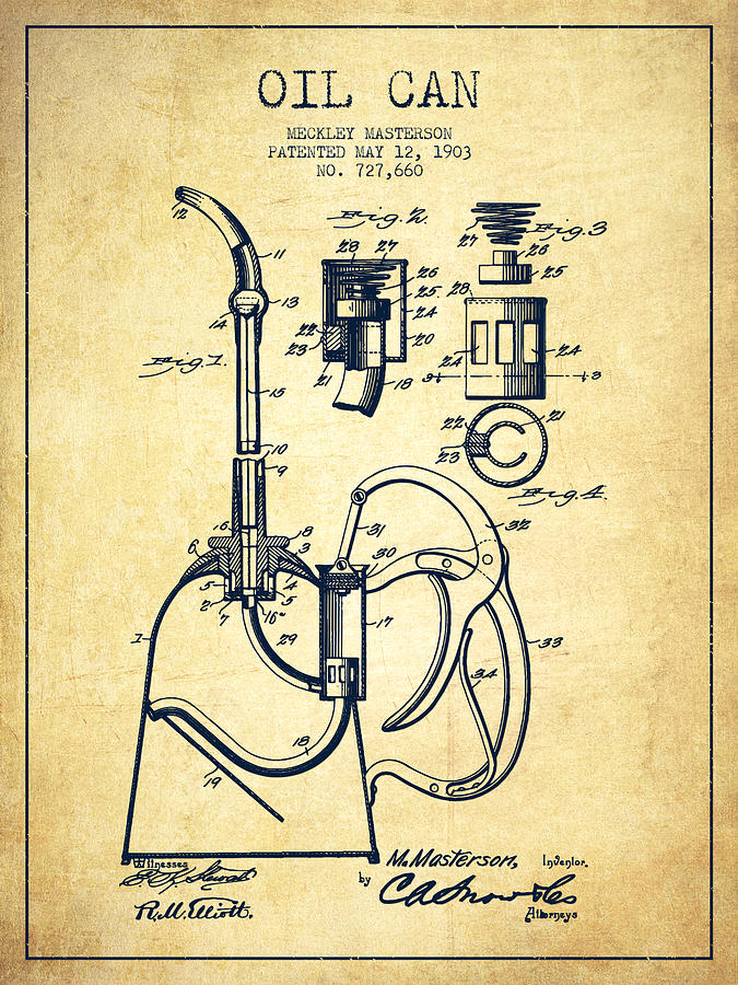 Oil Drawing - Oil Can Patent From 1903 - Vintage by Aged Pixel