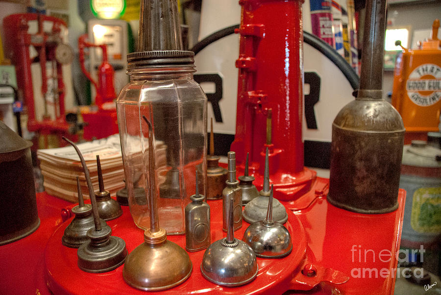 Gas Photograph - Oil Cans by Alana Ranney