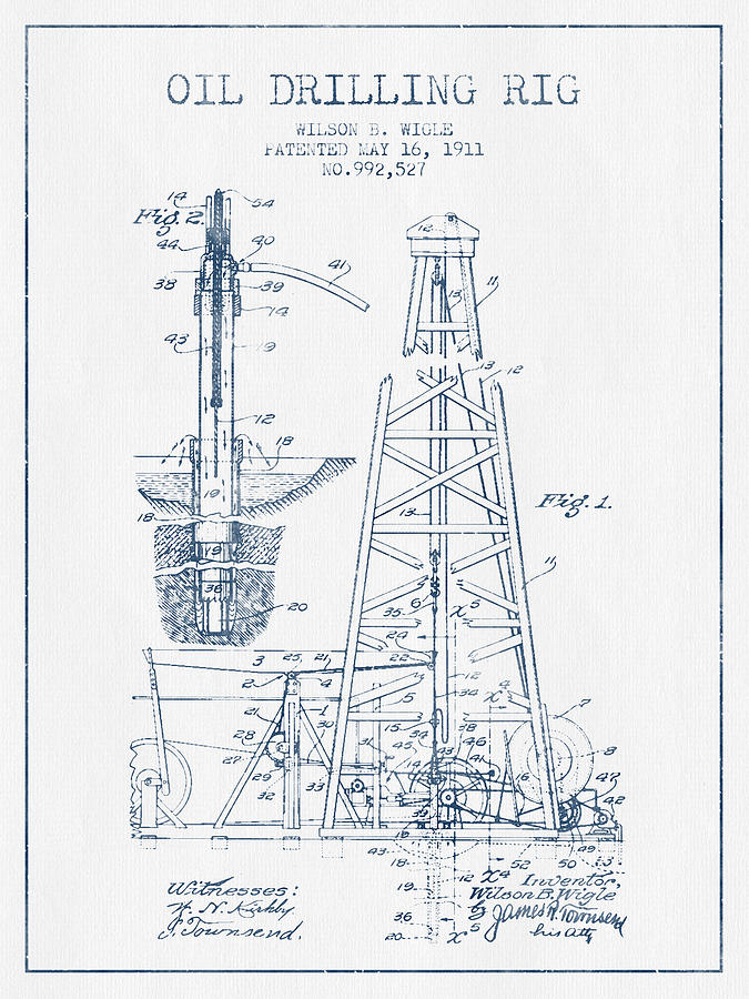 rig art oil drilling rig patent from 1911 blue ink digital art by aged pixel