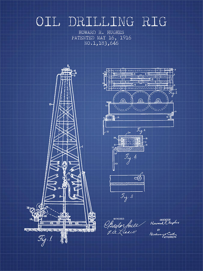Oil drilling rig patent from 1916 blueprint digital art by aged pixel oil digital art oil drilling rig patent from 1916 blueprint by aged pixel malvernweather Gallery