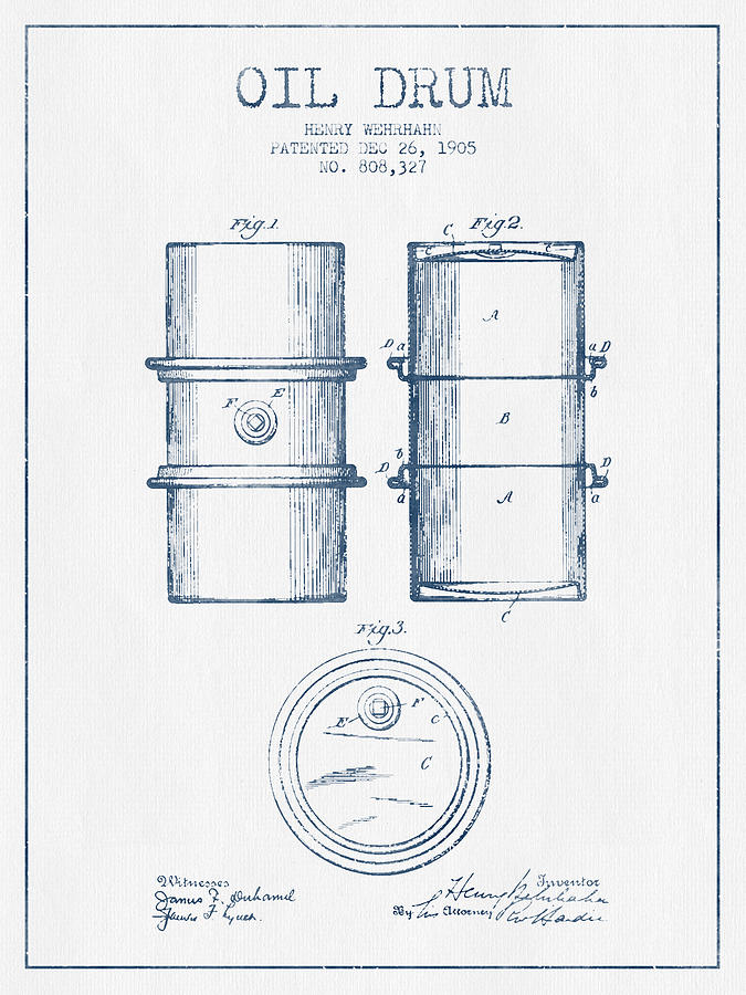 Oil Drum Digital Art - Oil Drum Patent Drawing From 1905 -  Blue Ink by Aged Pixel