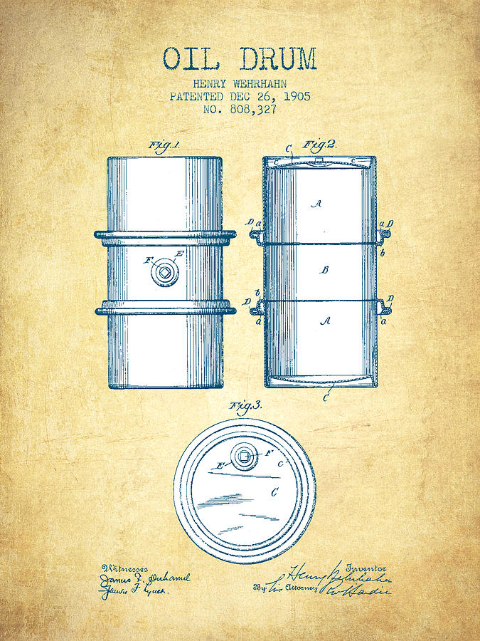 Oil Digital Art - Oil Drum Patent Drawing From 1905 - Vintage Paper by Aged Pixel