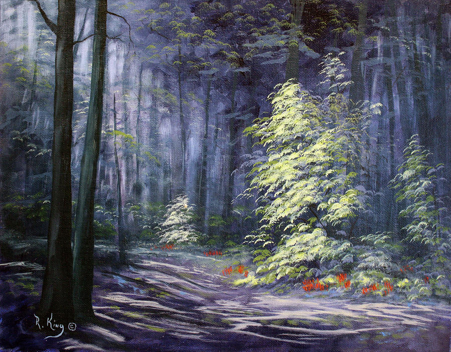 Forest Painting - Oil Painting - Forest Light by Roena King