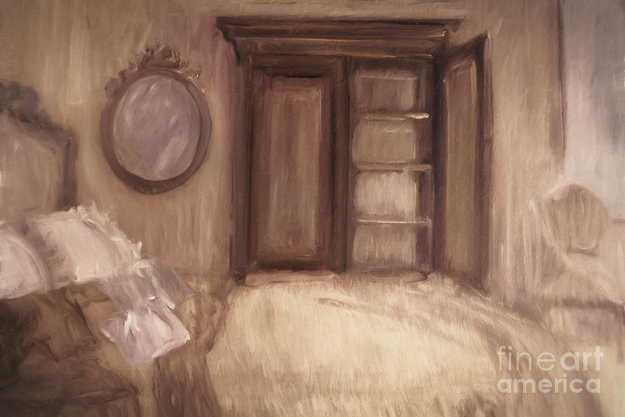 Abstract Photograph - Oil Painting Of A Bedroom/ Digitally Painting by Sandra Cunningham