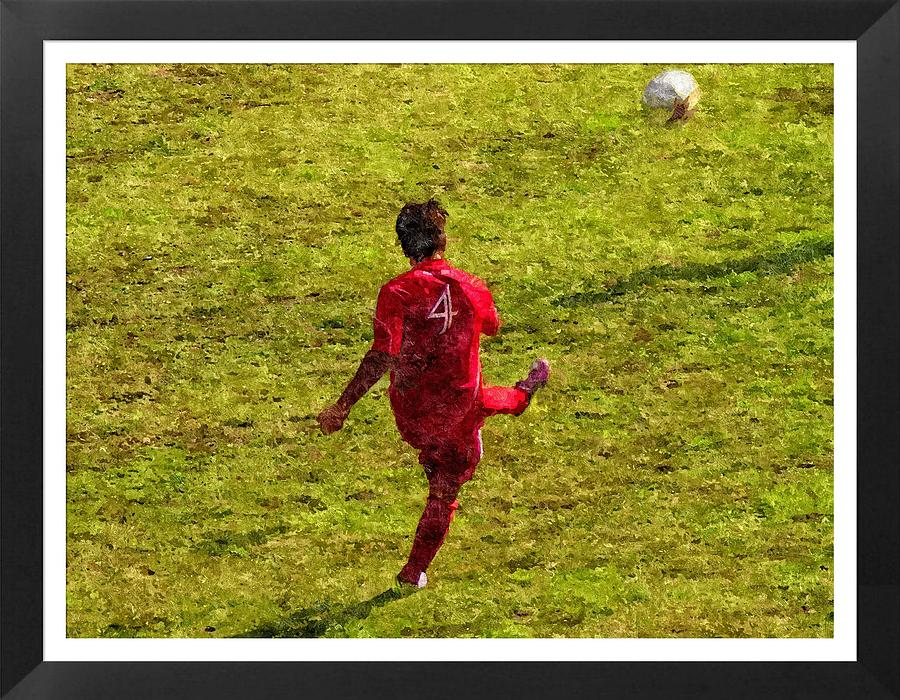 Soccer Photograph - Oil Painting Of Soccer Player by John Vito Figorito
