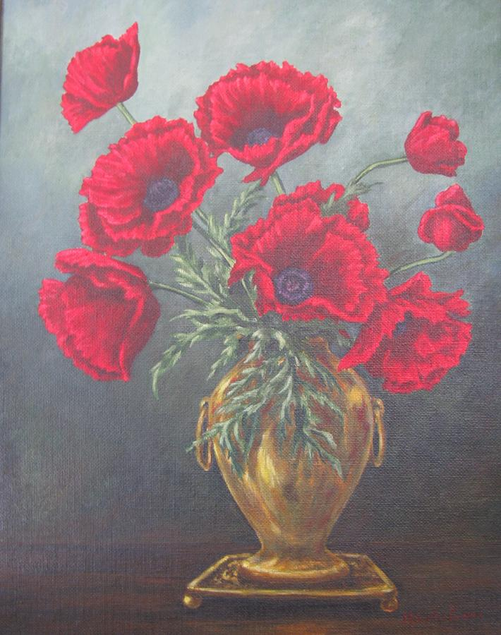 painting canvas oil poppies