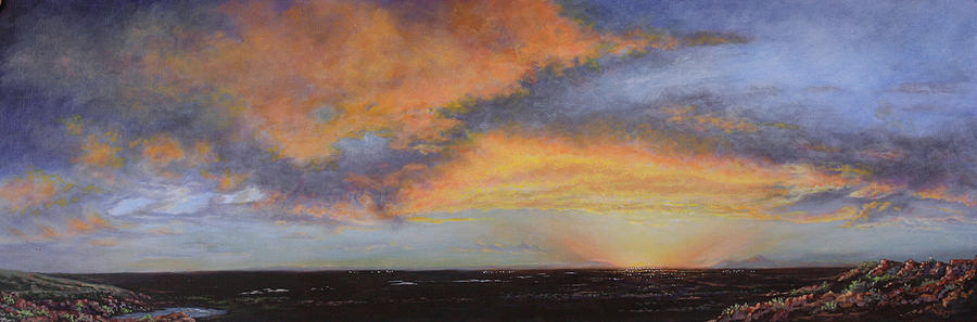 Rainbow Colors Painting - Oil Painting When The Sky Turns Color by Roena King