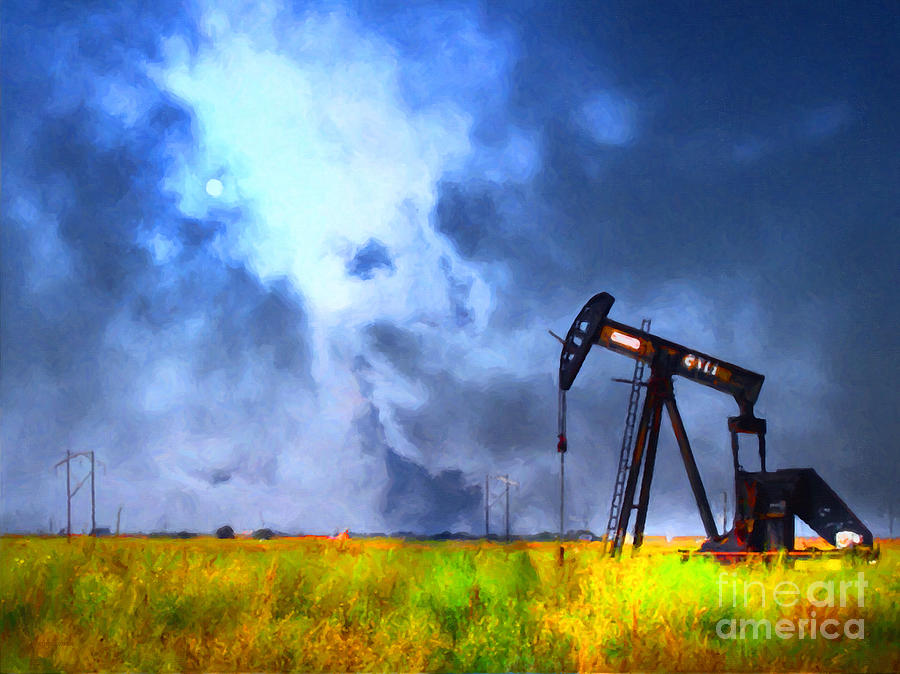 Oil Field Photograph - Oil Pump Field by Wingsdomain Art and Photography