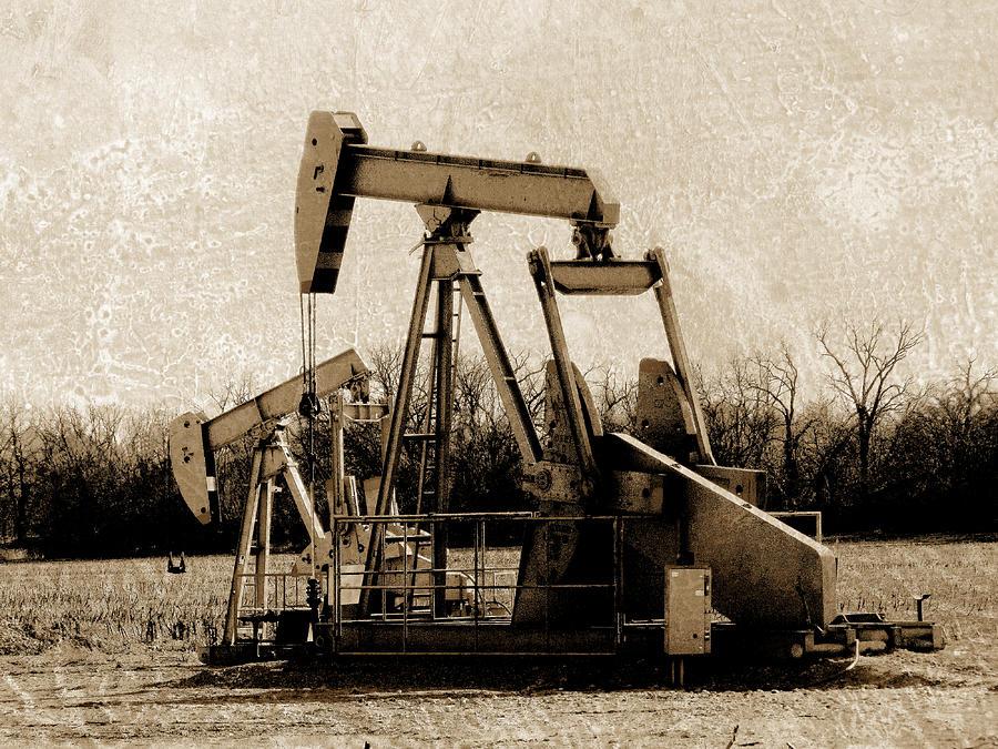Oil Pump Digital Art - Oil Pump Jack In Sepia by Ann Powell