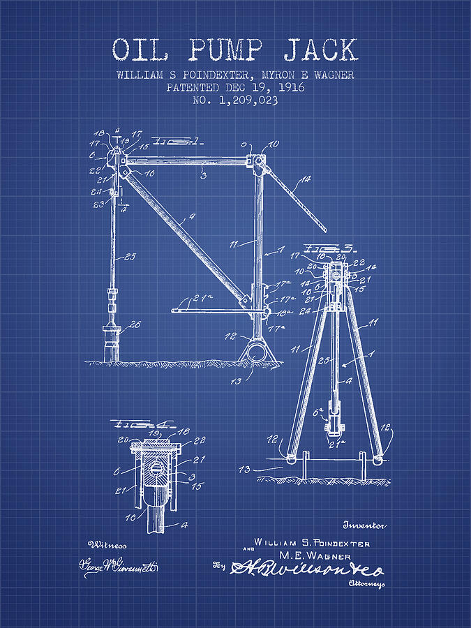 Oil pump jack patent from 1916 blueprint digital art by aged pixel oil digital art oil pump jack patent from 1916 blueprint by aged pixel malvernweather Image collections