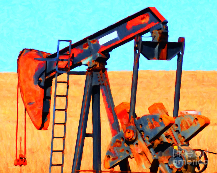 Houston Photograph - Oil Pump - Painterly by Wingsdomain Art and Photography