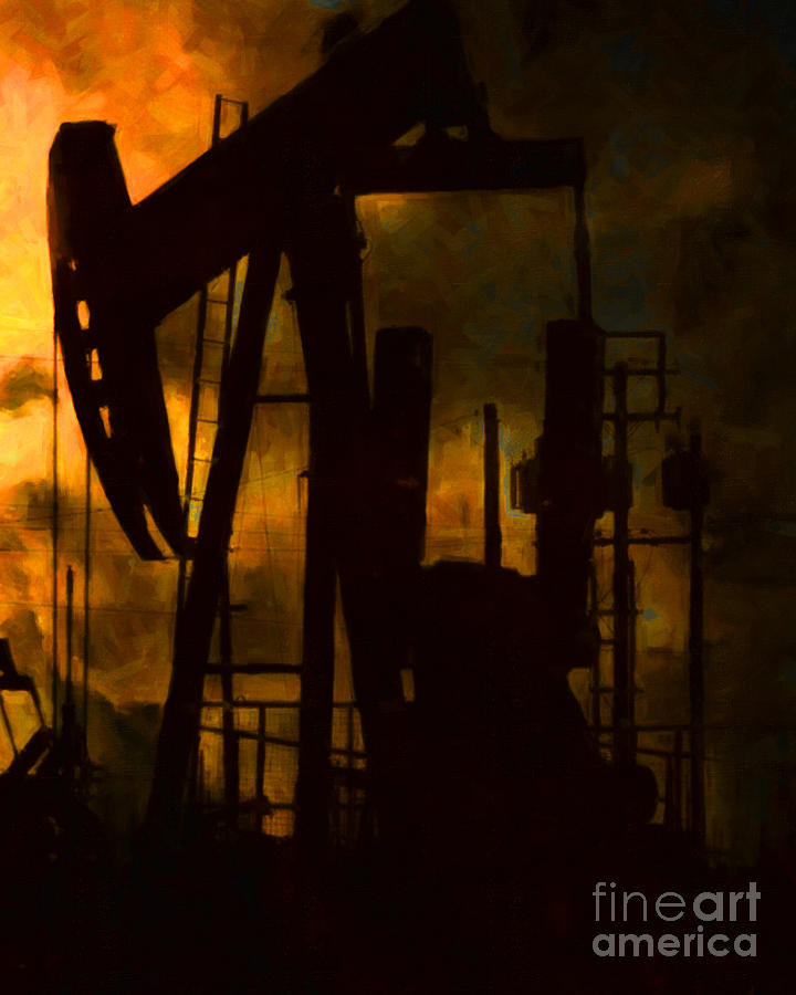 Oil Field Photograph - Oil Pumps - Vertical by Wingsdomain Art and Photography