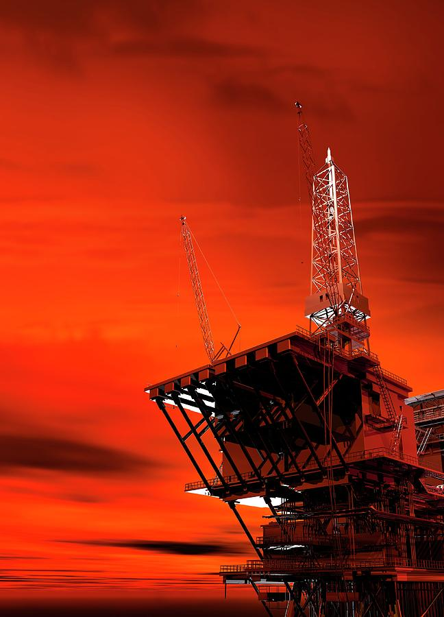 Architecture Photograph - Oil Rig by Victor Habbick Visions